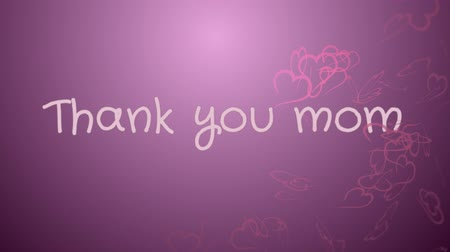 agradecido : Animation Thank you mom, mothers day, greeting card Archivo de Video