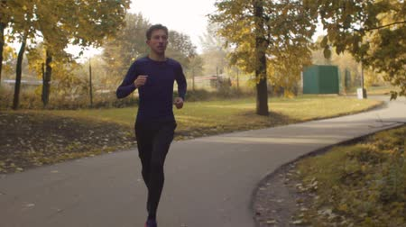 vigorous : Young man running along the road in the park Stock Footage