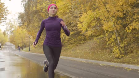 takip etmek : Young sportswoman running along the road Stok Video