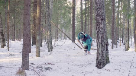 conservationist : Ecologist getting samples of snow