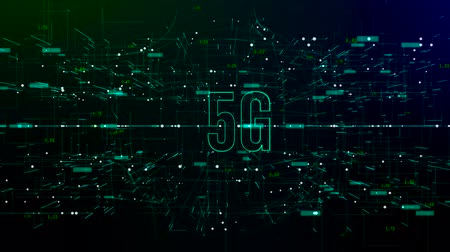 espaço de texto : Animation of digital space with 5G text Stock Footage