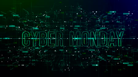 hétfő : Animation of digital space with Cyber Monday text