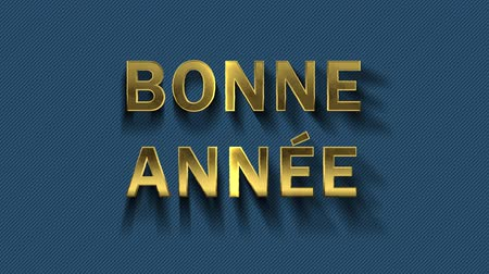 congratulating : Colored particles turn into blue background and text - Bonne Annee