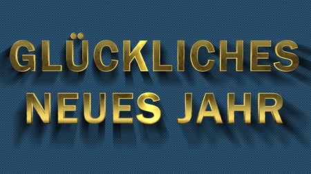 collected : Colored particles turn into blue background and text - Gluckliches Neues Jahr Stock Footage