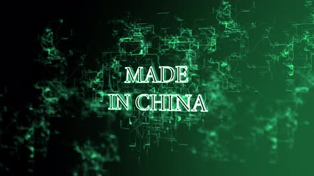 impressão digital : 3D digital network. Sign Made in China Stock Footage