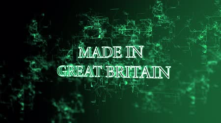 great britain : Rotating digital network with Made in Great Britain text