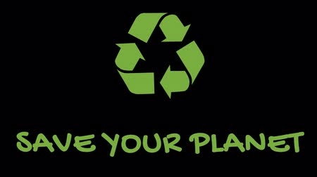 лозунг : Animated recycling logo with green slogan - Save Your Planet Стоковые видеозаписи