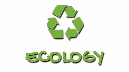 szlogen : Animated recycling logo with green slogan - Ecology