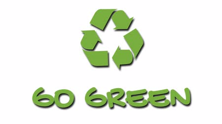 лозунг : Animated recycling logo with green slogan - Go Green