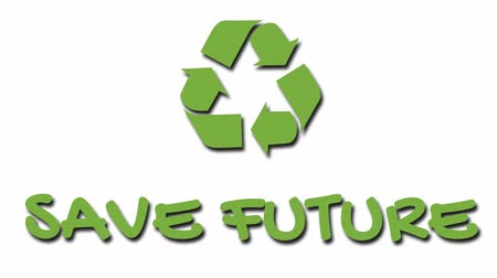 szlogen : Animated recycling logo with green slogan - Save Future