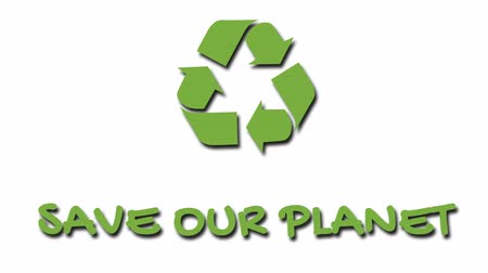 salva vidas : Animated recycling logo with green slogan - Save Our Planet