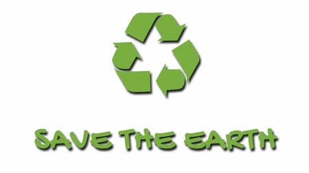 szlogen : Animated recycling logo with green slogan - Save The Earth Stock mozgókép