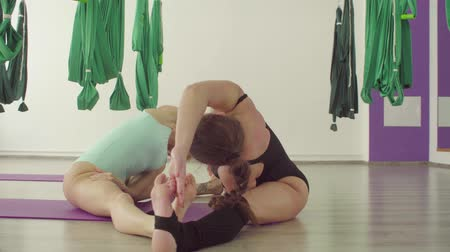 meia idade : Two attractive flexible women doing yoga exercises in pair Vídeos