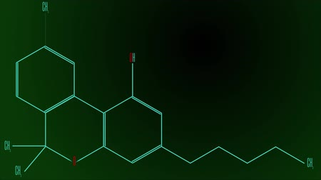 konstrukční prvky : Animation light blue line draws the cannabinol molecule