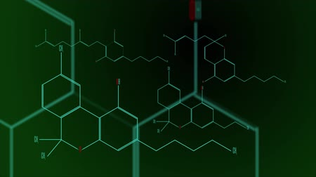 vzorec : Digital animation - a group of cannabinoid molecules Dostupné videozáznamy