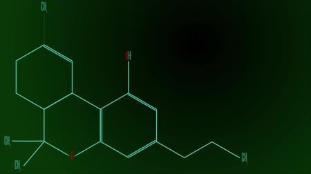 konstrukční prvky : Animation light blue line draws the tetrahydrocannabinol molecule