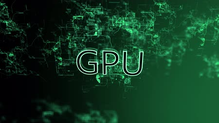 procesor : 3D animation of the digital network. Text GPU Wideo