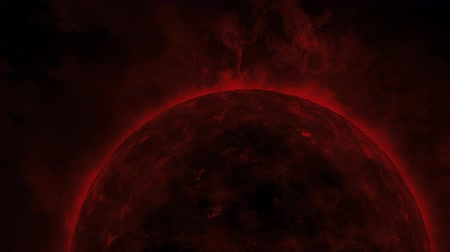 origens : Red sun surface with heat solar waves and flames