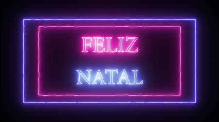 natal : Animation neon inscription Feliz Natal Merry Christmas in portuguese