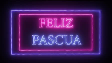 neve : Animation neon inscription Feliz Pascua, Happy Easter in spanish