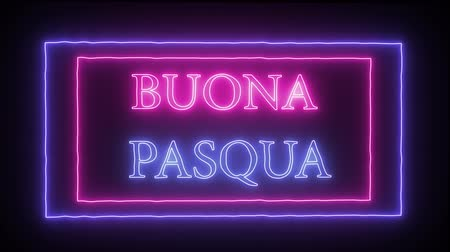 title : Animation neon inscription Buona Pasqua, Happy Easter in italian