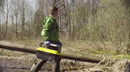 felling : Ecologist on the forest felling walks in spring stream Stock Footage