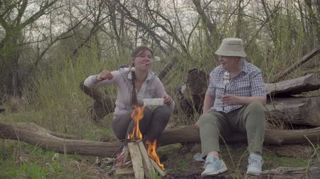 prikker : Two women roasting marshmallows on a fire