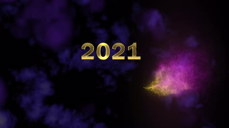 hůlky : Magical sparkling particles. Appearing golden number 2021 Dostupné videozáznamy