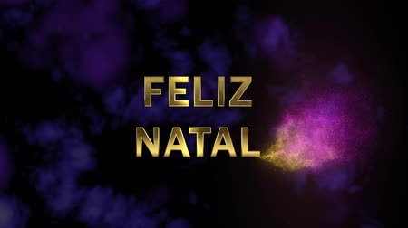 natal : Magical sparkling particles. Appearing golden letters Feliz Natal