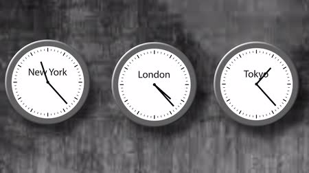 Animation - time lapse round clocks are going and showing different time in three cities - London, New York, Tokyo. Illustration of three time zones, 4K Archivo de Video