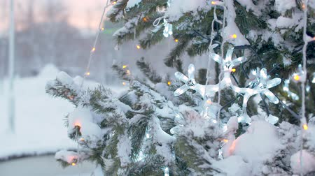 lights up : Close up branches of Christmas tree outdoors under the snow. Flickering lights of a garland. City holiday decorations. Snowfall in the city. Stock Footage