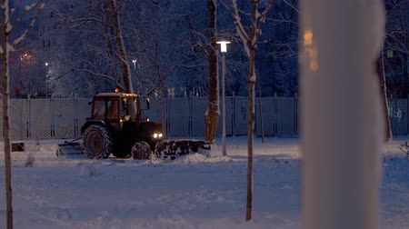 recentemente : Tractor grader working in the snow covered park. Snow shines beautifully in the lights of latternes. Winter magic evening. Trees in fresh snow