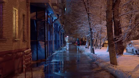 City street on a winter snowy night. The sidewalk is covered with water and ice, drops are falling from the roof. The light of lanterns is reflected in asphalt. Unrecognizable people Archivo de Video