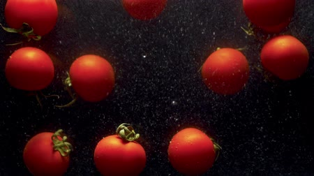 plash : Close up tomatoes falling into the water with a splash and bubbles on black background