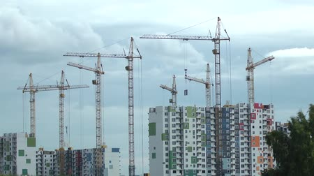 panel buildings : construction houses and cranes