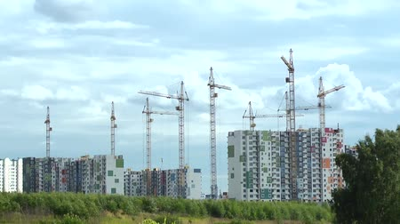 truck crane : construction houses and cranes