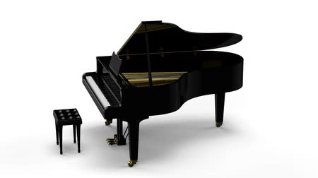 piyano : Grand piano rotating on white background Stok Video
