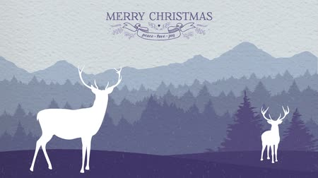 feliz natal : Winter forest scene 2d animation: pop up intro with deers and falling snow on paper texture background for Christmas greeting card footage. Vídeos