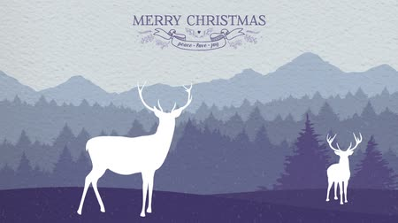 pré natal : Merry christmas greeting card 2d animation footage: winter scene in the forest with deers and snow effect on paper texture background. Ideal for xmas campaign or web.