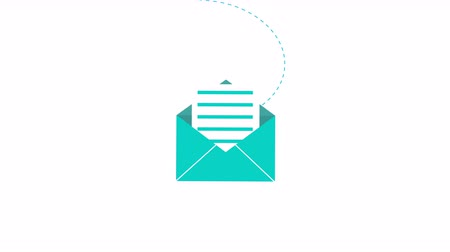 входящий : New incoming mail concept 2d animation of email icon opening. Message envelope symbol for app ui, business mailing or internet site motion graphic 4k footage. Стоковые видеозаписи