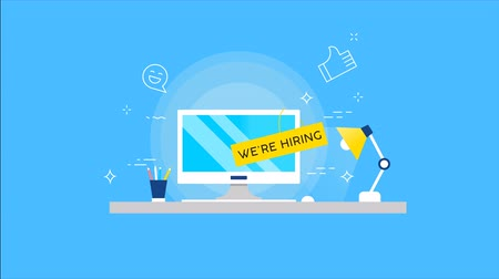 vacant : We are hiring 2d animation of business employment search. New job vacancy concept in modern flat style, work advertisement with computer desk for creative or technology career footage.