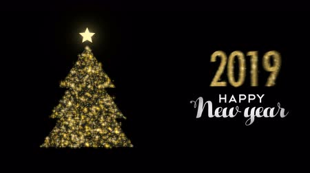szablon : Happy New Year 2019 gold glitter pine tree motion graphics background. Luxury footage template for celebration event or holiday season greeting video card animation.