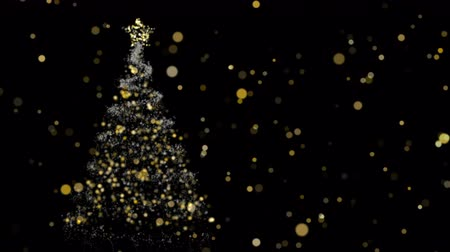 desfocado : Christmas gold bokeh lights with xmas tree on night sky background. Luxury holiday season video card or screensaver. Copy space footage intro, 4k animation.