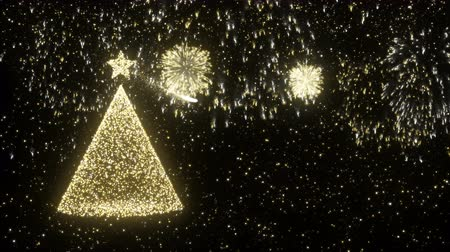 pré natal : Christmas gold firework background with xmas tree on night sky. Luxury holiday season video card or screensaver. Copy space footage intro, 4k animation.