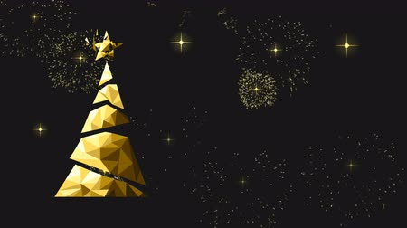 intro template : Gold Christmas and New Year animation of xmas tree motion graphics intro background with low poly pine. Elegant video greeting card for celebration event. 4k holiday footage. Stock Footage