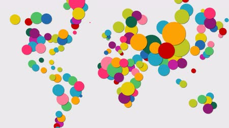 földrajz : Colorful abstract world map, 2d animation made of vibrant diversity concept circles in 3d paper cut style. Ideal for presentation, information footage or global statistics. 4k quality. Stock mozgókép