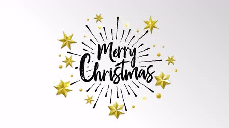 Merry Christmas typography animation of xmas hand made quote on isolated white background with gold luxury stars decoration for video greeting card or celebration event presentation intro. 4k holiday footage. Vídeos