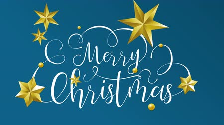 Merry Christmas typography animation of xmas quote on isolated blue background with gold luxury stars decoration for video greeting card or celebration event presentation. 4k holiday footage. Wideo
