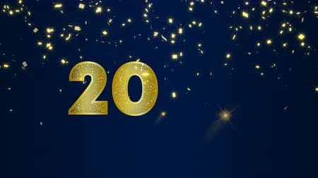 Happy New Year 2020 animation of gold fireworks explosion on holiday eve night sky background. Video greeting card with animated 20 numbers for celebration party invitation footage in 4k Wideo