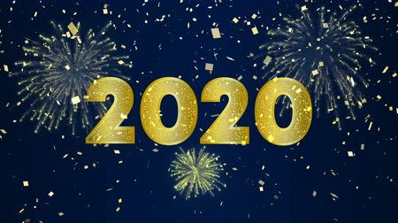 Happy New Year 2020 intro animation of gold fireworks explosion on holiday eve night sky. Video greeting card or celebration party invitation footage in 4k Wideo